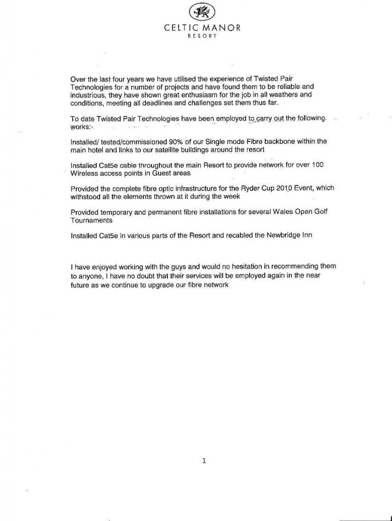 celtic manor testimonial letter