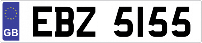 British number plate image
