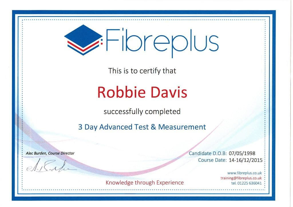Fibre Testing Training Robbie rs1024