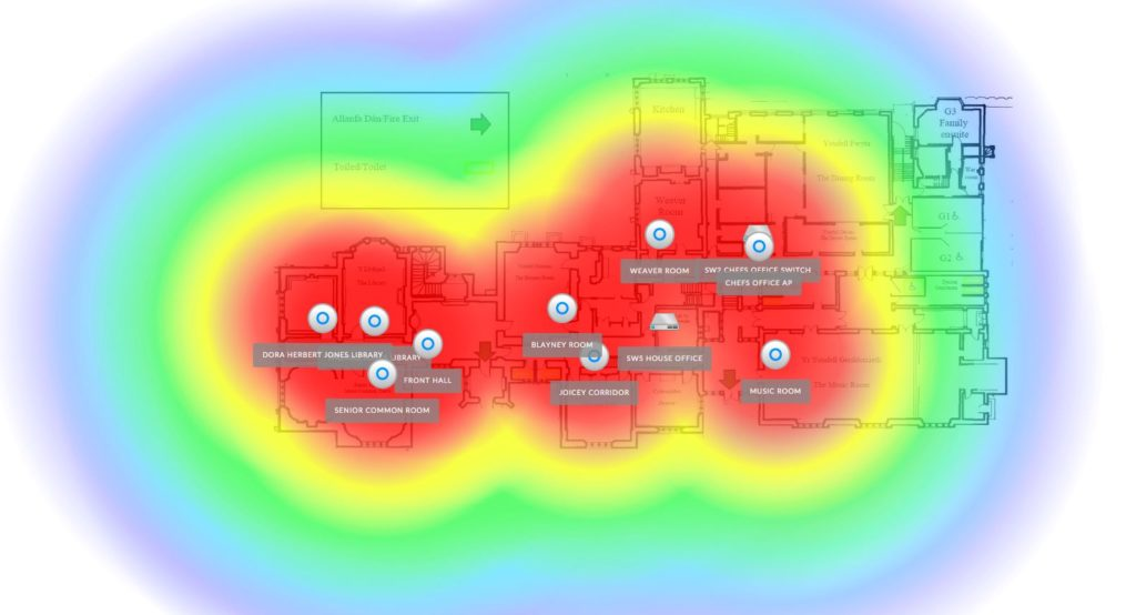 Gregynog Hall WIFI heatmap